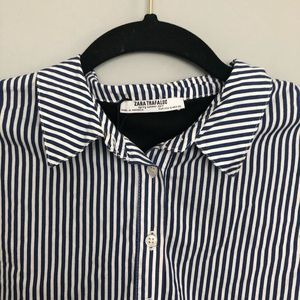 Zara Tops - Zara Trafaluc Collar Navy & White Striped Lace Top